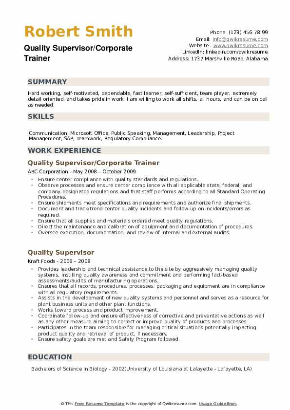 Quality Supervisor/Corporate Trainer Resume Sample