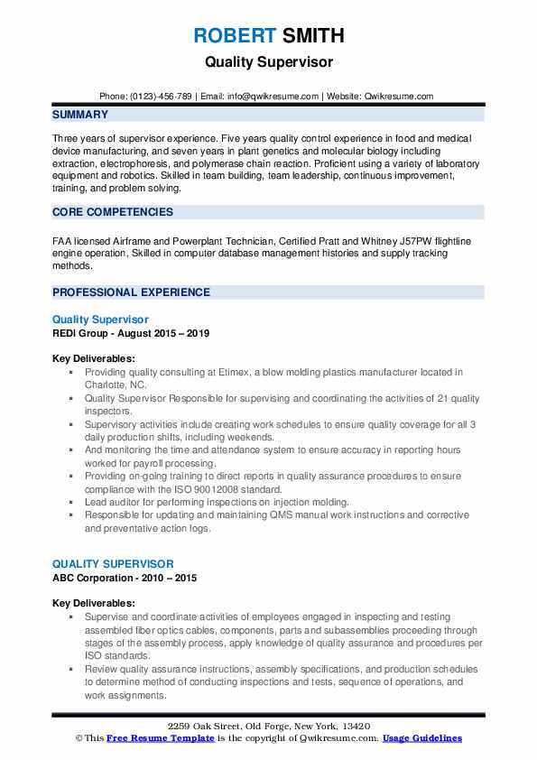 Quality Supervisor Resume example