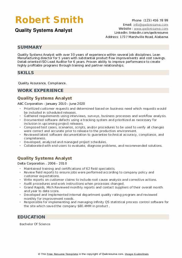 Quality Systems Analyst Resume example