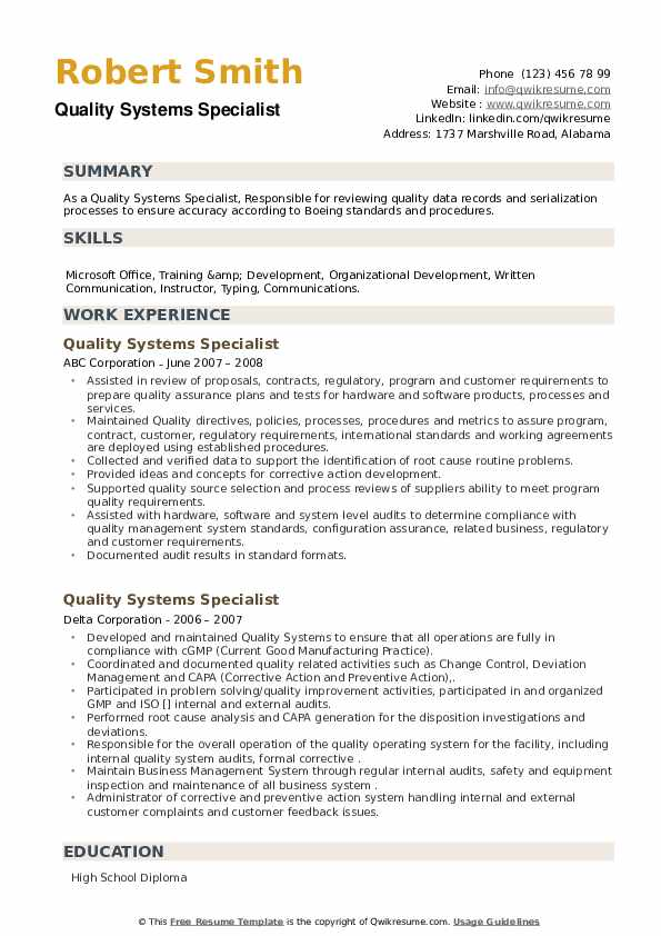 Quality Systems Specialist Resume example
