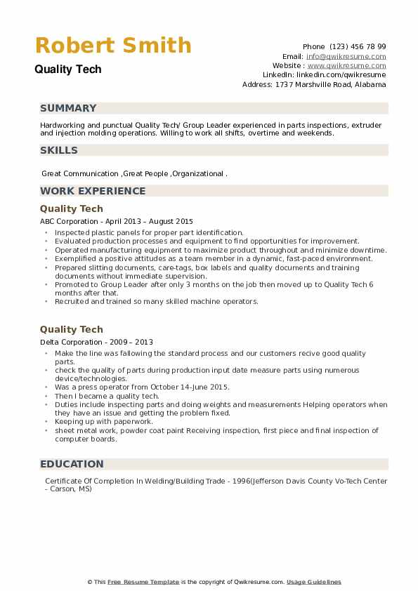 Quality Tech Resume example