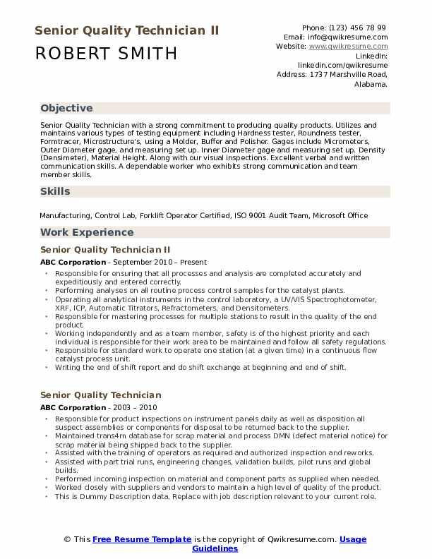 Senior Quality Technician II Resume Format