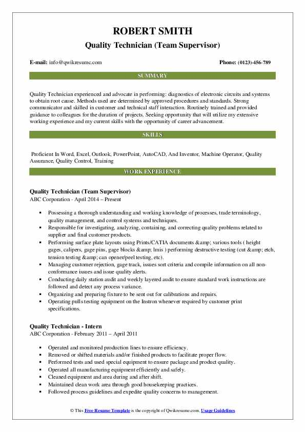 Quality Technician (Team Supervisor) Resume Format