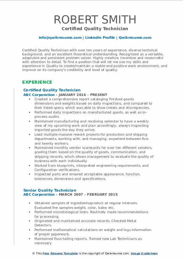 Certified Quality Technician Resume Template