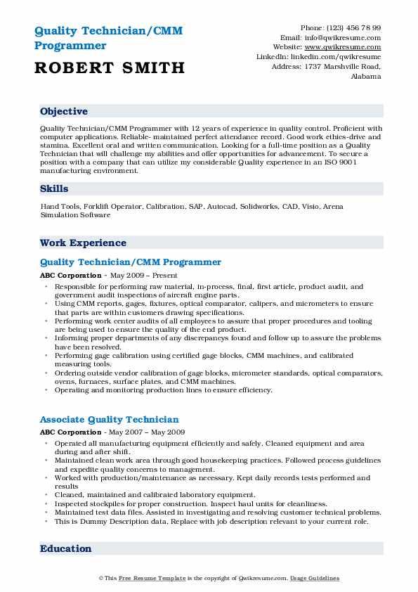 Quality Technician/CMM Programmer Resume Model
