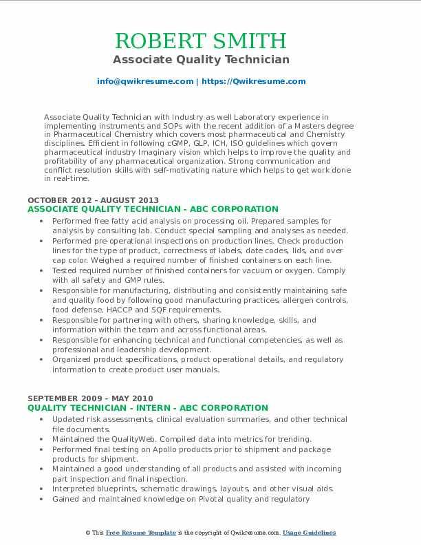 Associate Quality Technician Resume Format