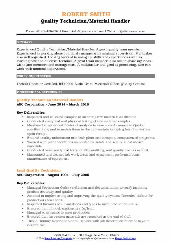 Quality Technician/Material Handler  Resume Example