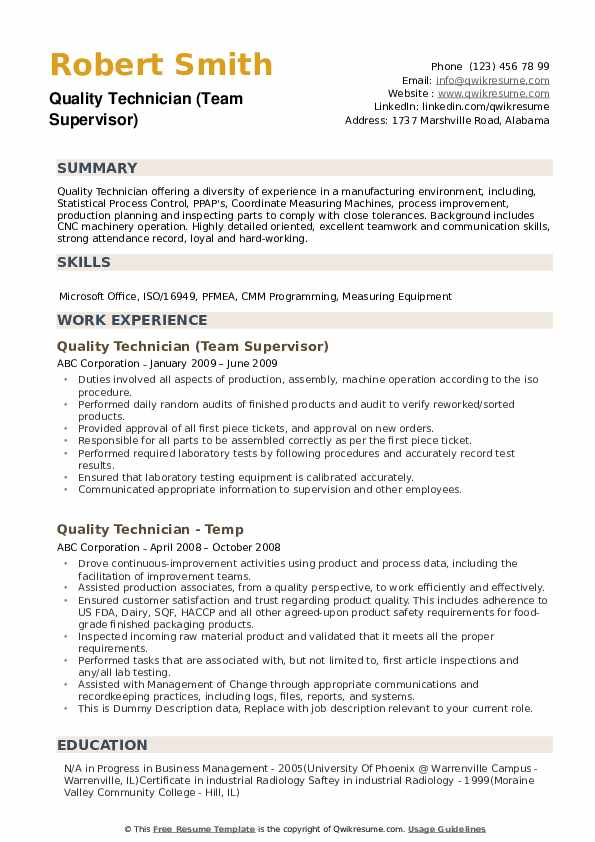 Quality Technician Resume example