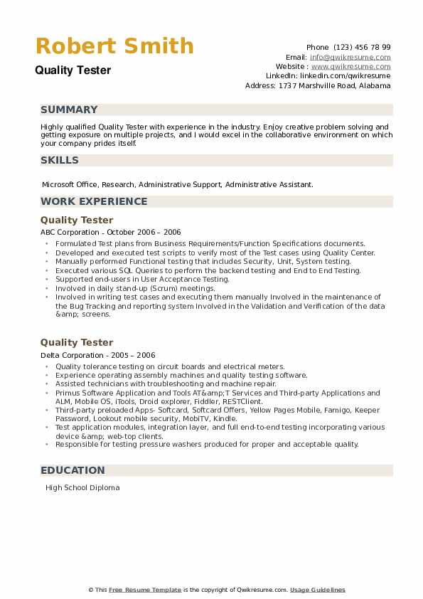 Quality Tester Resume example