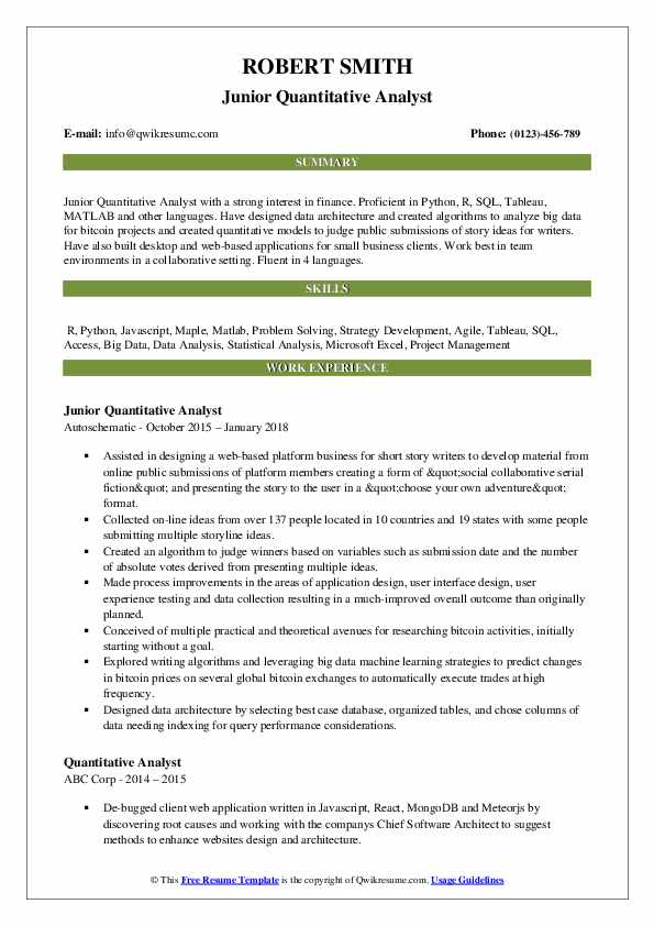 Junior Quantitative Analyst Resume Example