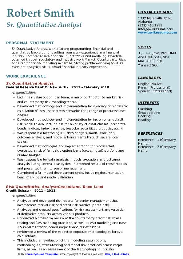 Sr. Quantitative Analyst Resume Example