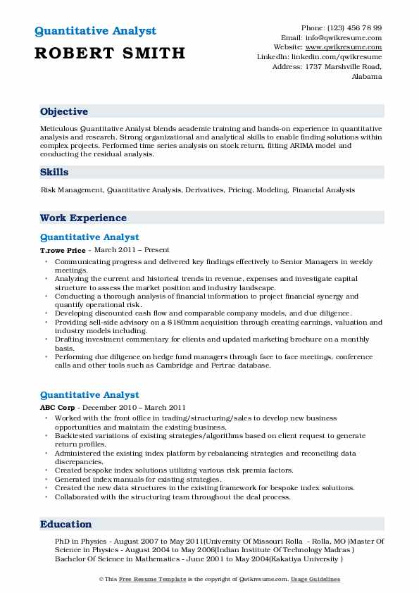 Quantitative Analyst Resume Template