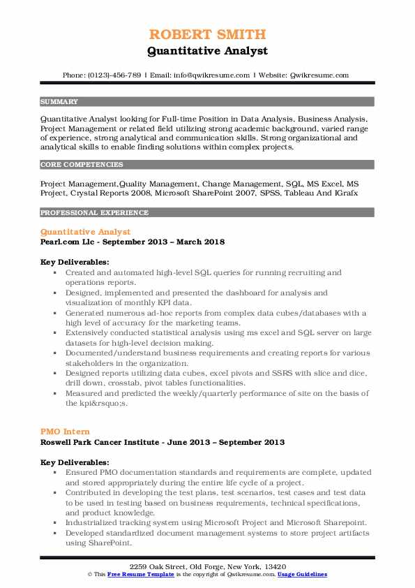 Quantitative Analyst Resume Format