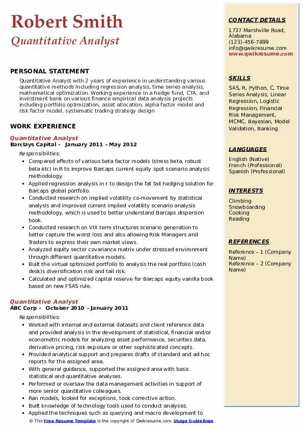 Quantitative Analyst  Resume Model