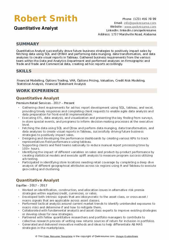 Quantitative Analyst Resume example