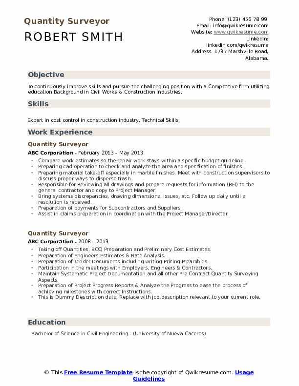 Quantity Surveyor Resume example