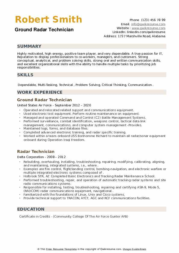 Radar Technician Resume example