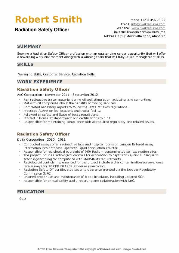 Radiation Safety Officer Resume example