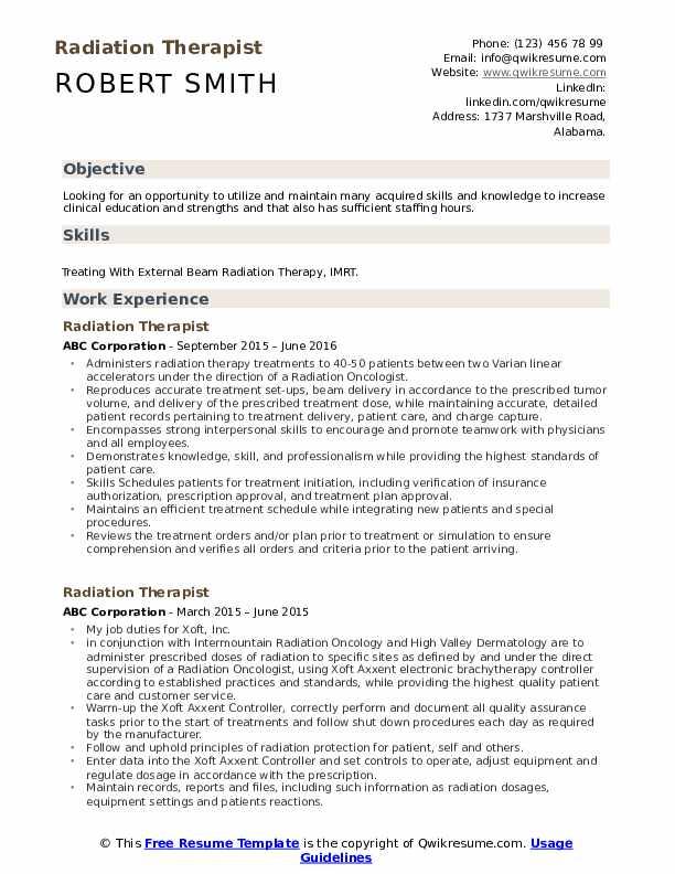 Radiation Therapist Resume Model