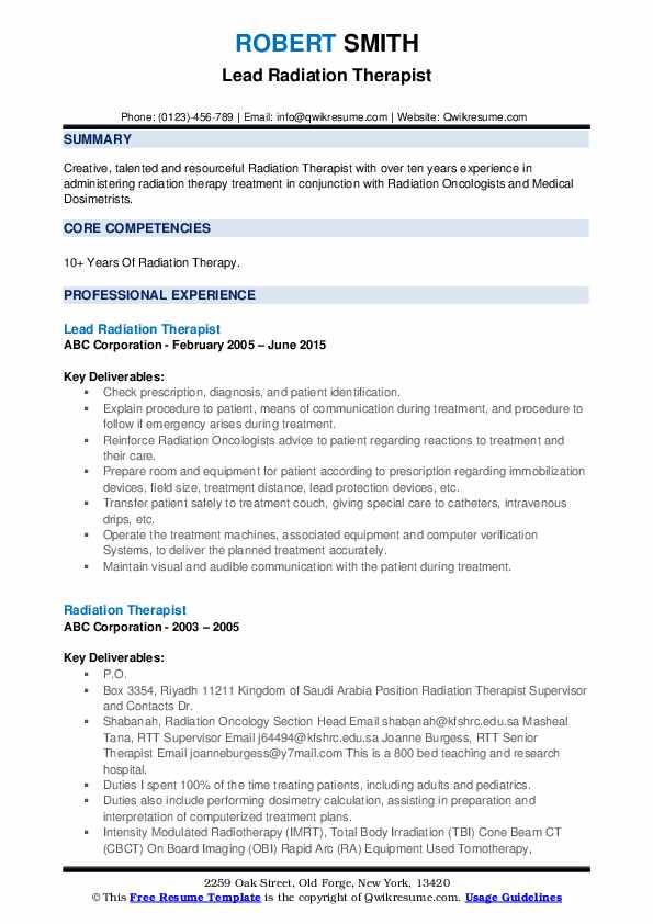 Lead Radiation Therapist Resume Format
