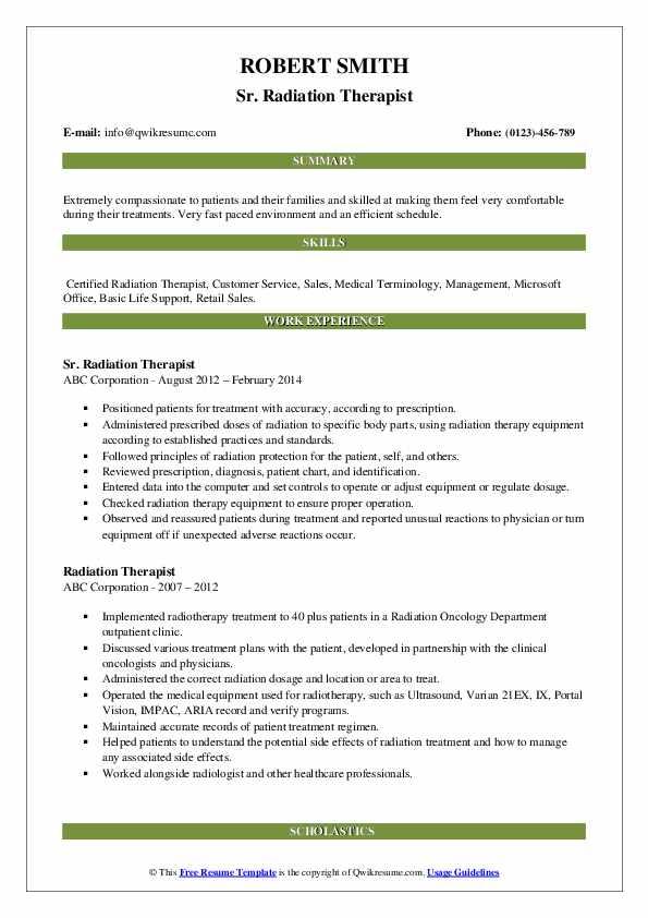 Sr. Radiation Therapist Resume Example
