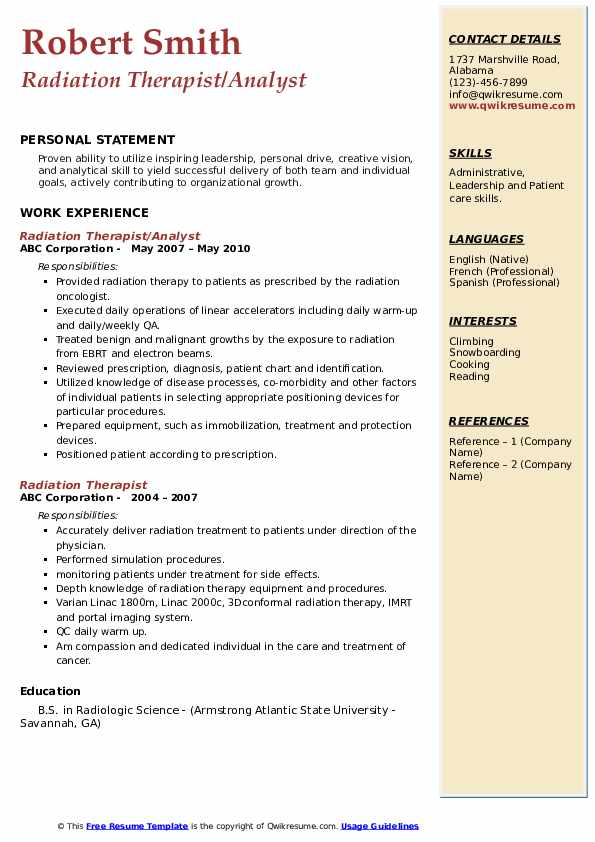Radiation Therapist/Analyst Resume Model