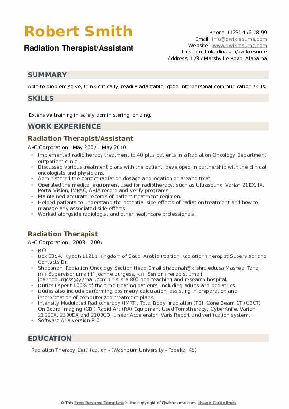 Radiation Therapist/Assistant Resume Format