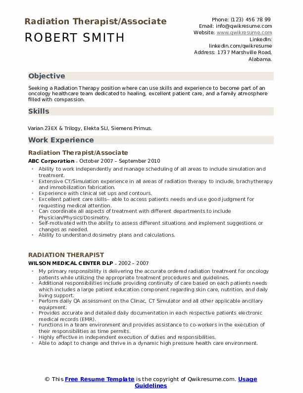 Radiation Therapist/Associate  Resume Sample