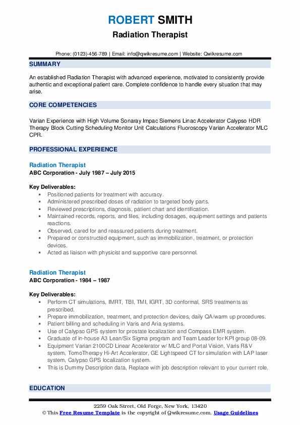 Radiation Therapist Resume example