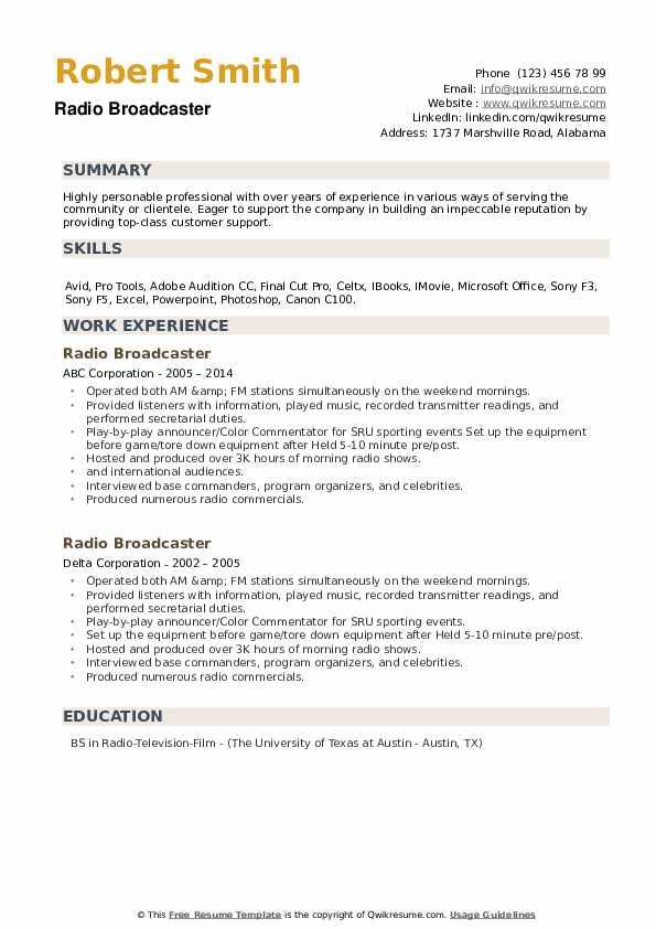 Radio Broadcaster Resume example