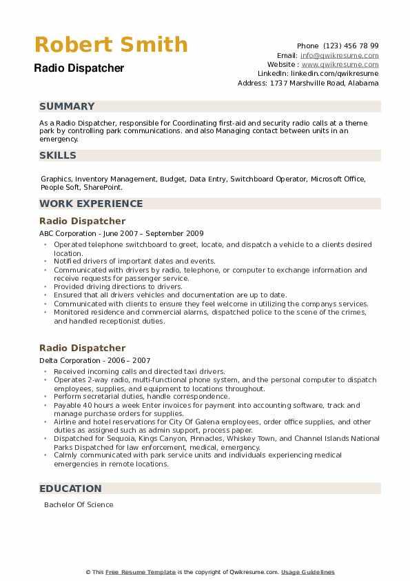 Radio Dispatcher Resume example