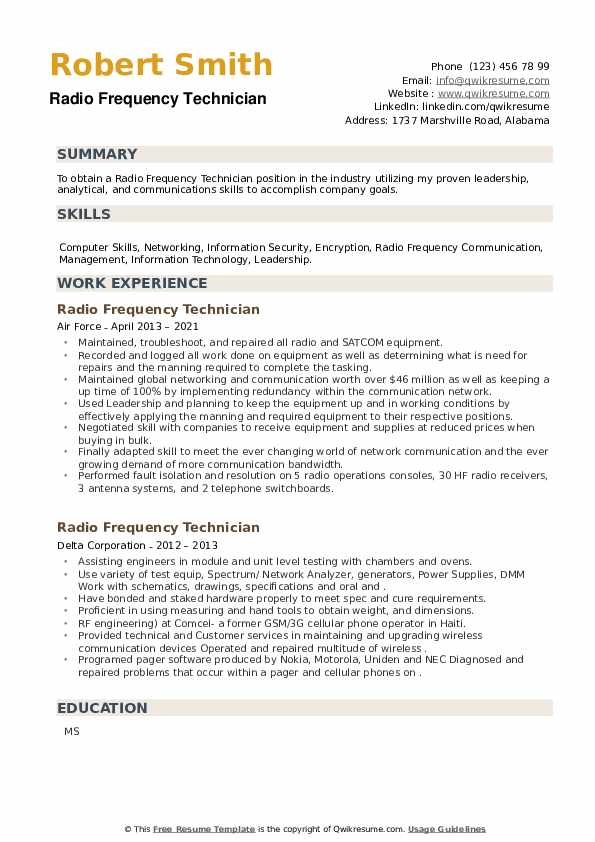 Radio Frequency Technician Resume example
