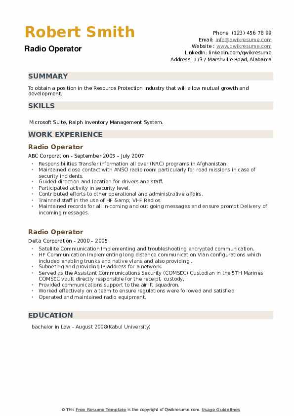 Radio Operator Resume example