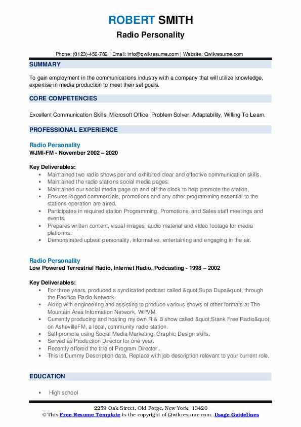 Radio Personality Resume example