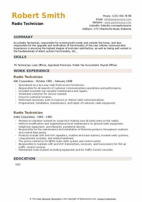 Radio Technician Resume example