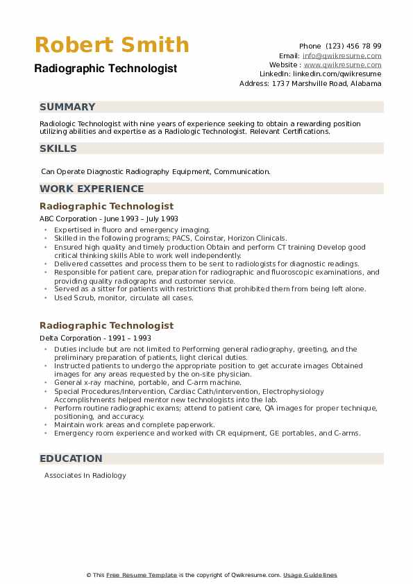Radiographic Technologist Resume example