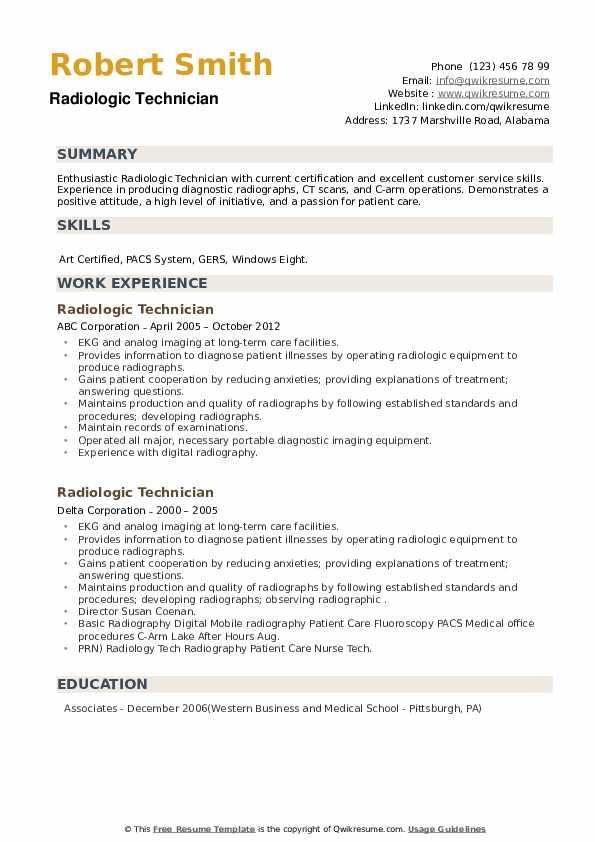 Radiologic Technician Resume example