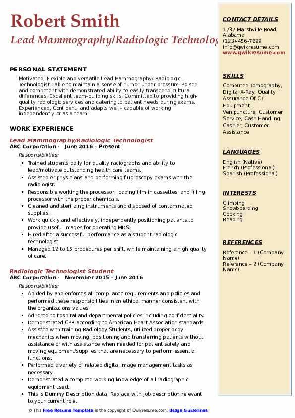 Radiologic Technologist Resume Samples Qwikresume
