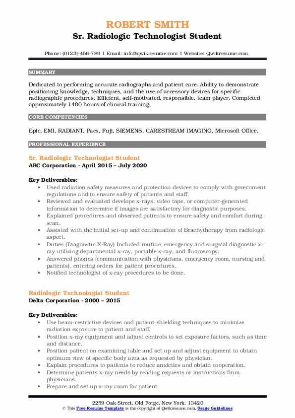 Resume for radiologic technologist student top school creative essay help