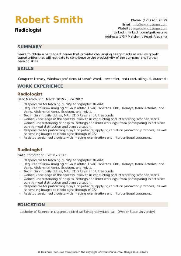 Radiologist Resume example