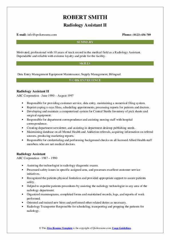 Radiology Assistant II Resume Example