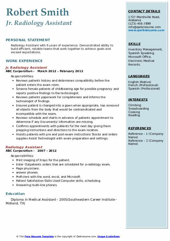 Jr. Radiology Assistant Resume Example