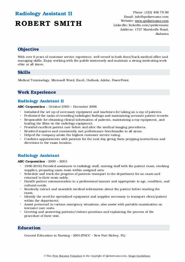 Radiology Assistant II Resume Format