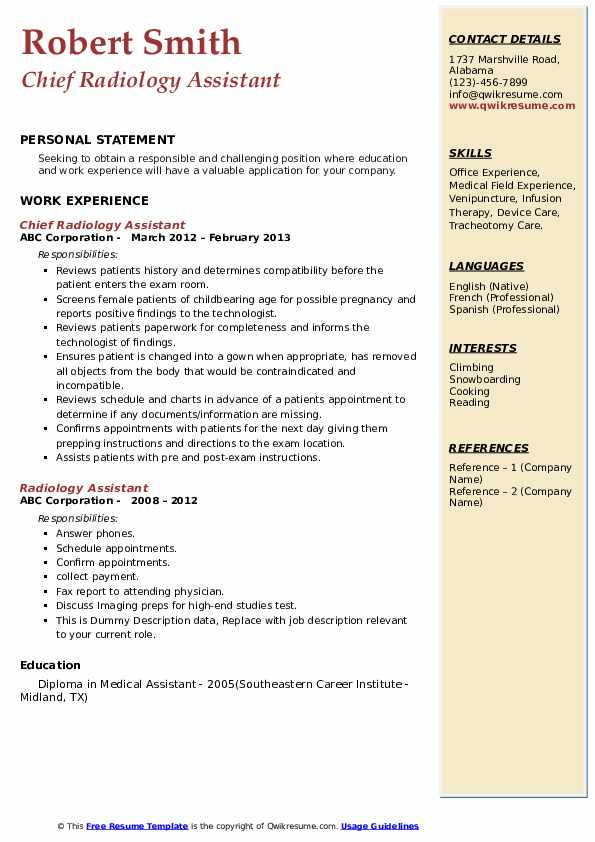 Chief Radiology Assistant Resume Template