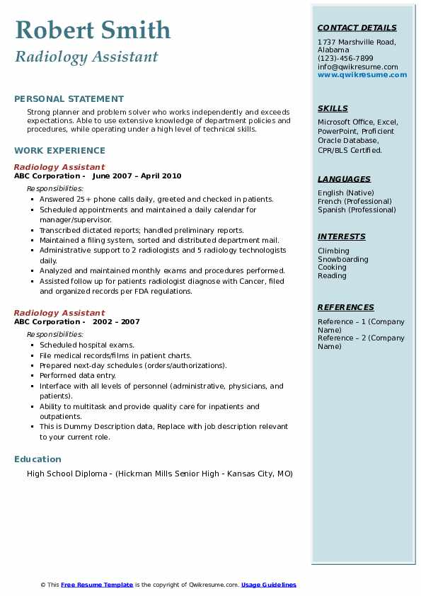 Radiology Assistant Resume example