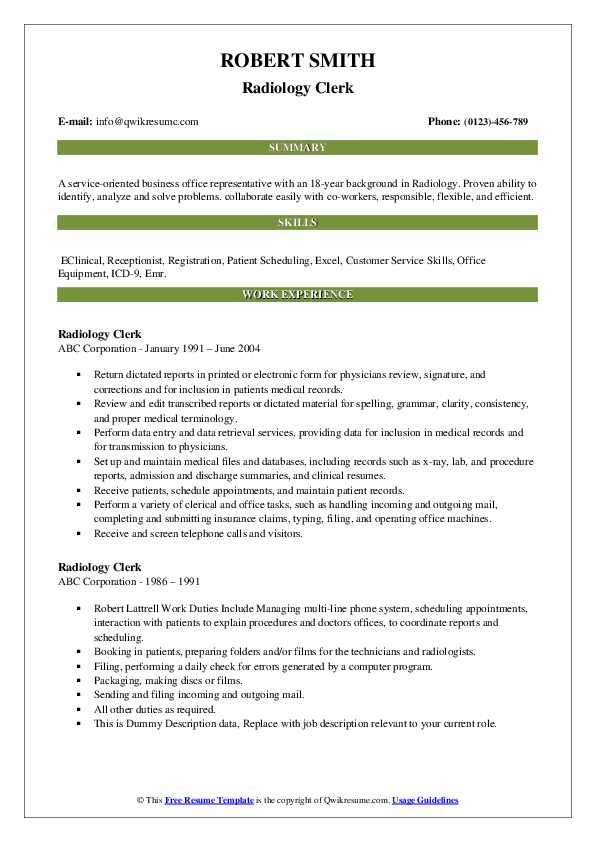 Radiology Clerk Resume example