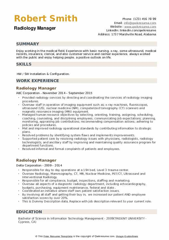 Radiology Manager Resume example
