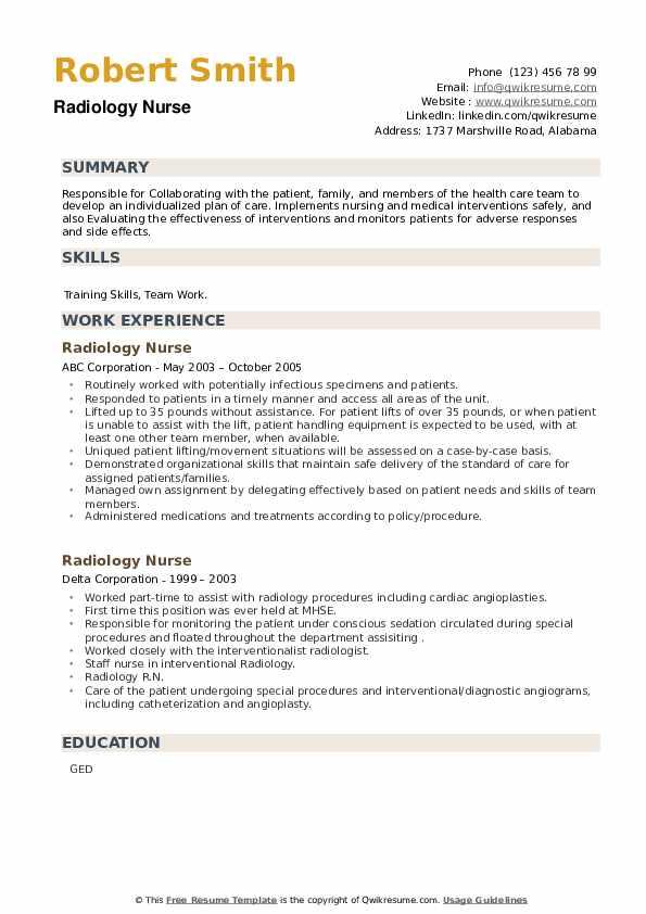 Radiology Nurse Resume example