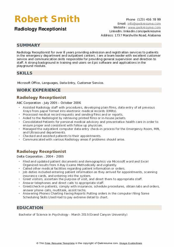Radiology Receptionist Resume example