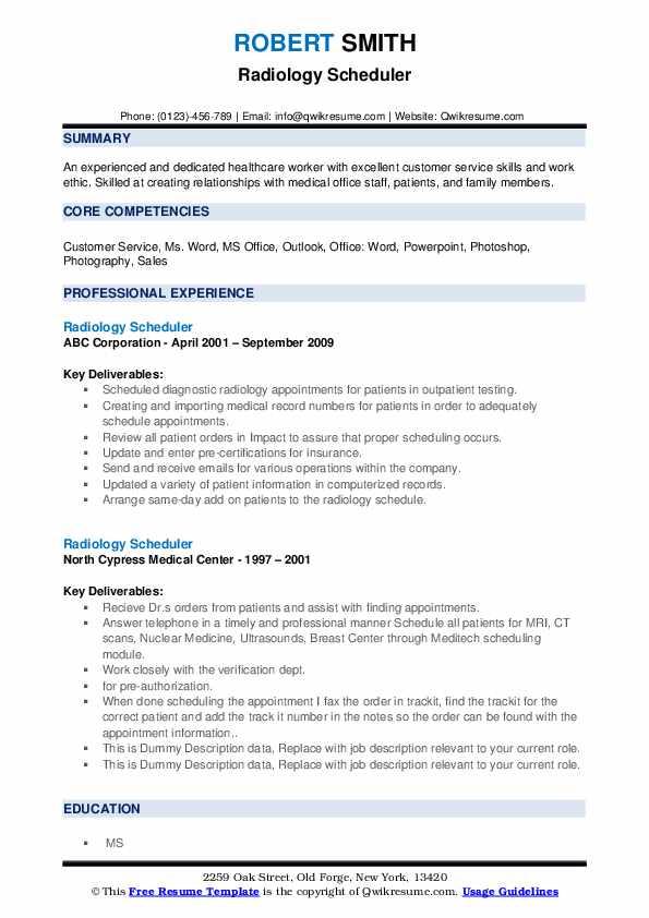 Radiology Scheduler Resume example